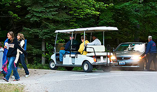 Northern Sky Theater's Golf Cart Shuttle for Handicap Accessibility